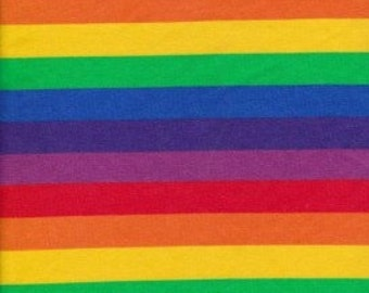 KNIT Fabric: Primary Rainbow Stripe Cotton Lycra knit fabric. Sold by the 1/2 yard