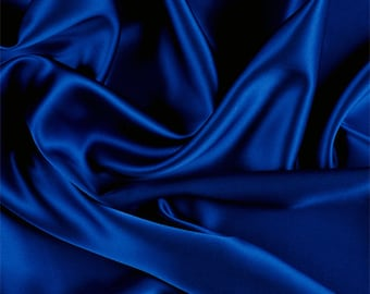 Blue Silk Charmeuse, Fabric By The Yard