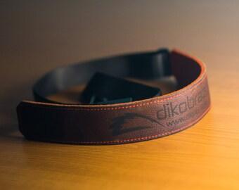 Sling laser ENGRAVED Leather and Felt Camera Strap - BLACK Leather