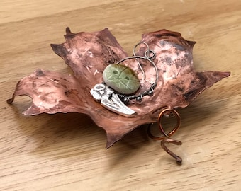 Copper Maple Leaf Trinket Dish, Incense Holder, Ring Dish, Candle Holder