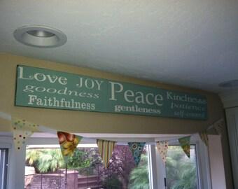 Fruit of the Spirit -Galatians 5 22, Love, Joy, Peace, Goodness,55x7.25, Faithfulness,Gentleness, Patience