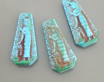 Vintage Cabochons - Egyptian Cabochons - Earring Findings - Cleopatra Pendant - Blue Cabochon - Glass Pendants- DIY Jewelry- 3 pcs.