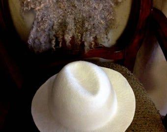 White hat, wet felted hat, merino wool