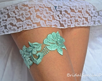 Lace Bridal Garter, Lace Wedding Garter, Mint Garter Set, Wedding Garter, Lace Garter Set, Handmade Garter, Wedding Garter Set, Mint Garter