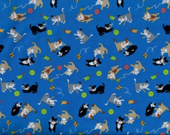 FREE SHIPPING - A Cat Tale fabric - playful kittens royal blue - Studio e - by the continuous YARD