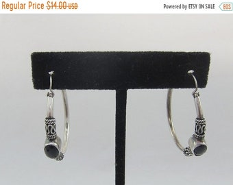 ON SALE Large Sterling Silver Bali Style Hoops w. Black Glass