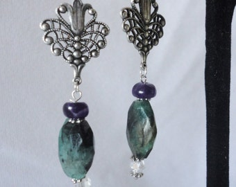 Gorgeous Faceted Emeralds Amethyst Earrings*****.