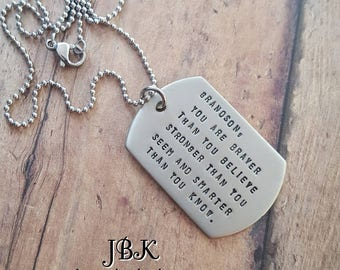 Grandson dog tag necklace or key chain