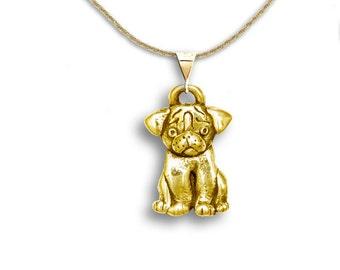 14K Gold Pug Puppy Pendant