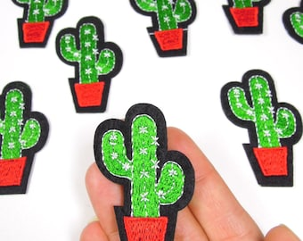 Cactus iron on patch - Prickly cactus iron patch - Cactus sew on patch - Cool cactus patch - Small cactus iron patch