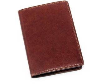 Leather Passport Cover with credit card holder - Made in Italy