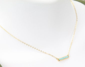 Turquoise Bar Gold Necklace