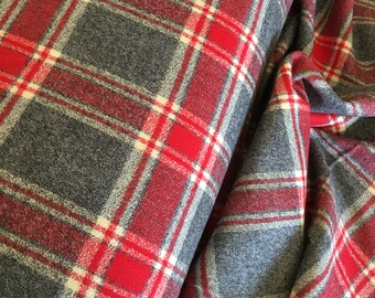 Hygge fabric, Hygge Home, Mammoth Flannel fabric, Plaid flannel, Apparel fabric, by Robert Kaufman, Mammoth Flannel Red 263