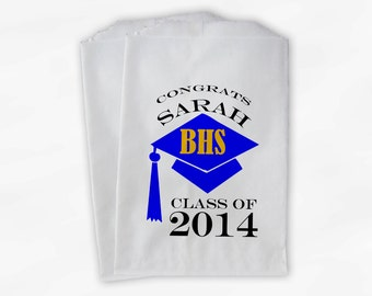2018 Graduation Cap Personalized Candy Buffet Bags - Set of 25 Blue & Gold High School Grad Party Custom Favor Bags in School Colors (0060)