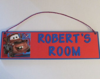Cars Tow Mater Personalized Room Decor Sign - Cars Name Sign - Cars Boys Room Decor - Tow Mater
