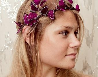 Dark Purple Butterfly Crown -renaissance, fantasy wedding, bride, photo prop