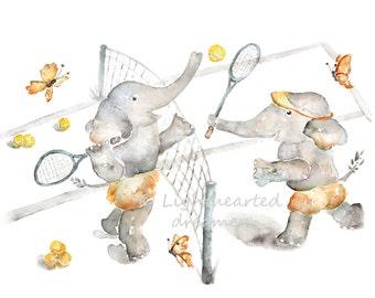 Elephant Nursery Print, tennis nursery, Watercolor Print, Sports Nursery Art, Elephant Print, Kids Wall Art, Toddler, Baby Boy Nursery Art