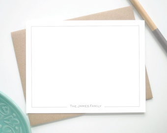 Custom Stationery Note Cards with Border / Personalized Stationary with Thin Border / Set of 12 Custom Notecards / Personalized Stationery