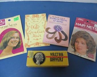 Antique Vassar Hair Wavers, 2 Vintage Hair Nets and 2 Vintage Hair Care Booklets