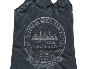Racerback SUPER SOFT Vintage Feel Tank - Cleveland City Seal in Shimmer White on Heather Charcoal