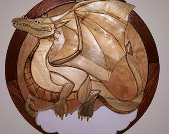 Dragon in flight - Wood Wall Hanging - Intarsia