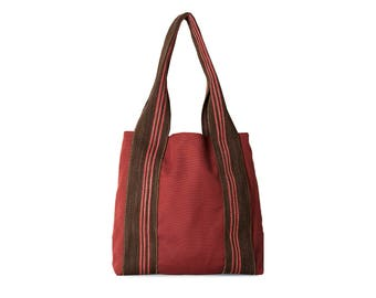 Valentines gift ideas, Valentines gifts, Gift for her, Raspberry canvas bag with brown straps, Red women bags,  Raspberry Medium Bag, Tote