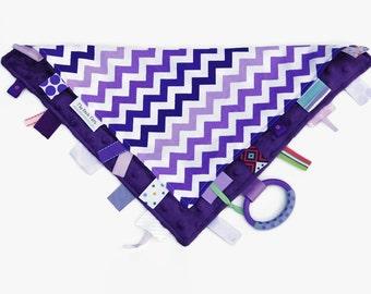 Baby Girl Blanket, Ribbon Lovey, Tag Blanket - Purple Chevron