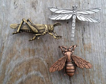 JJ Grasshopper, Bee, and Dragonfly Trio of Brooches