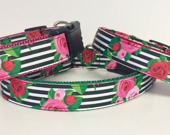 Dog Collar - Flower - Black Stripe - Rose - Beautiful - Pet - Wedding -  Garden - Rose - Gift for her