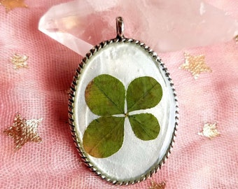 Real Four Leaf Clover Pendant, found in nature #160
