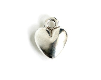 Puffy Heart Charm.  Fat Heart Charm. Add On Charm for Charm Bracelet or Charm Necklace. Silver Plated Charm. 12mm x 19mm