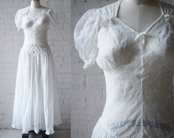 "1940s White Organdy Dress | Eyelet Embroidery | Floor Length | Size XS/S, 34"" Bust 