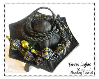 Beading Patterns, Tutorials, Instructions, Twisted Herringbone Rope with Pearls Ndbele Lariet Instant Download Pattern  FAERIE LIGHTS