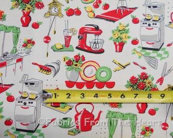 Retro Vintage 50er Jahre Küche Geschirr Teekannen von YARDS Michael Miller Stoff