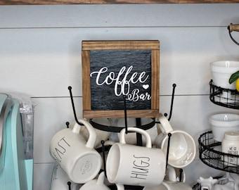 Coffee Bar Wood Framed Sign