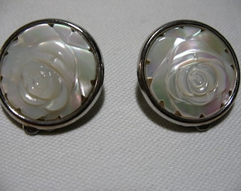 Carved Mother of Pearl Rose Ear Clips