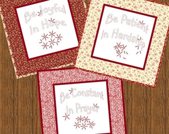 BE JOYFUL --- Hand Embroidery Pattern Printable Download Pdf Diy Simple Free Shipping Easy to Do Redwork Primitive Christian Home Decor