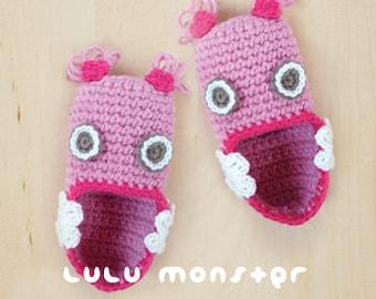 Crochet Pattern Lulu Monster Baby Booties Preemie Socks Newborn Shoes Crochet Monster Slipper Crochet Toe Puppet Crochet Toys (ML01-P-PAT)