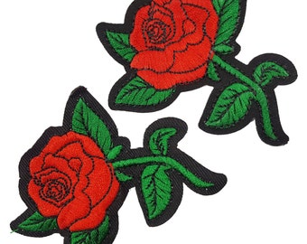 Red Roses Embroidered Flowers Patches Appliques, Red Flowers Patch Applique 2 pcs