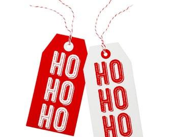 Christmas   Tags   Christmas Wrapping   Red and White Tags   HoHoHo Christmas Tags   8 Tags per pack
