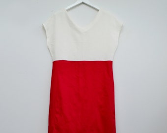 Red linen dress