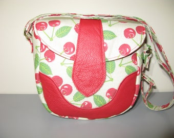 Valentines Mothers Day Cherry Print Crossbody Small Bag Cherries Red Leather Accents Handbag Bag Swoon Dollie