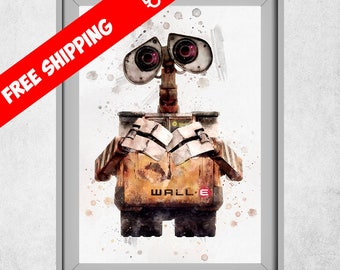 WALL-E Print, Wall-e Poster, Wall-e Art, Nursery Wall Art, Kids Room Decor, Wall-e Painting, Free Shipping
