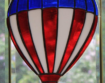 Stained glass red white & blue hot air balloon suncatcher, wall hanging, 4th of July