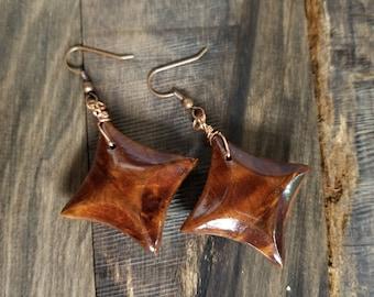 Thuya Burl / Walnut Earrings
