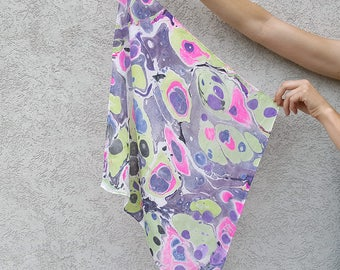 Pink Green Purple Spots Hand-Marbled Silk Square Scarf
