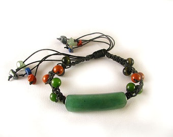 Black Macrame Jade Red Jasper Tigereye Bracelet Adjustable length with stone drops