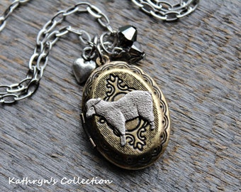 Sheep Locket Necklace, Sheep Jewelry, Lamb Locket, Lamb Jewelry, Pet Sheep, Pet Lamb