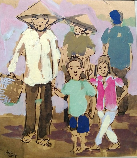 """CAN THO STREETS 9x10.5"""" gouache on paper, live painting, Cần Thơ Province, original by Nguyen Ly Phuong Ngoc"""