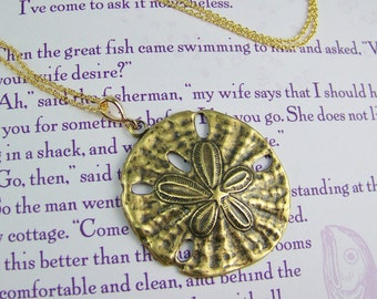 Sand Dollar Necklace, Sand Dollar Pendant, Bronze Sand Dollar, Lightweight Sand Dollar, Sand Dollar, Seashell Necklace, Ocean Necklace